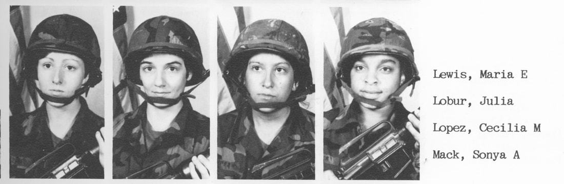Four black-and-white photos of female military personnel with list of their names.