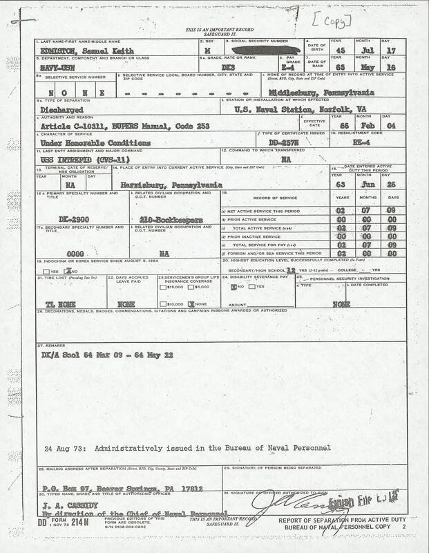 Discharge form from US Navy.