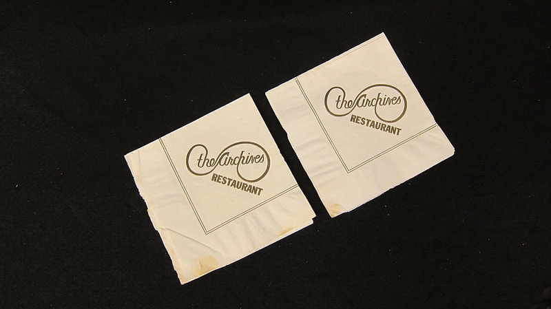 Archives napkins, circa 1980. Courtesy of LGBT-010, DCA.